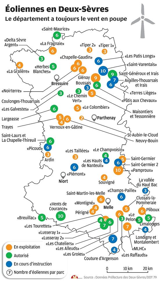 Carte Deux-Sèvres éolien